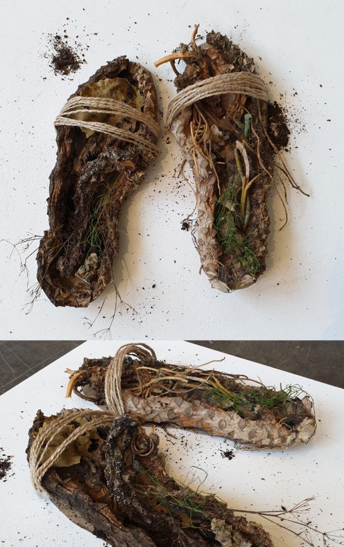 Pantoufles pour les invités Racines de plantes (ficelle métallique, ficelle naturelle, carton, colle) 2020